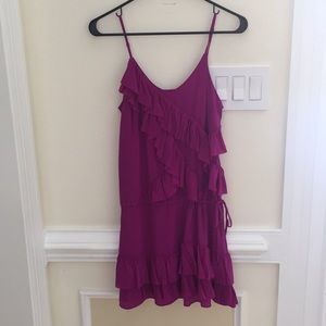 Banana Republic magenta pink ruffle silk dress